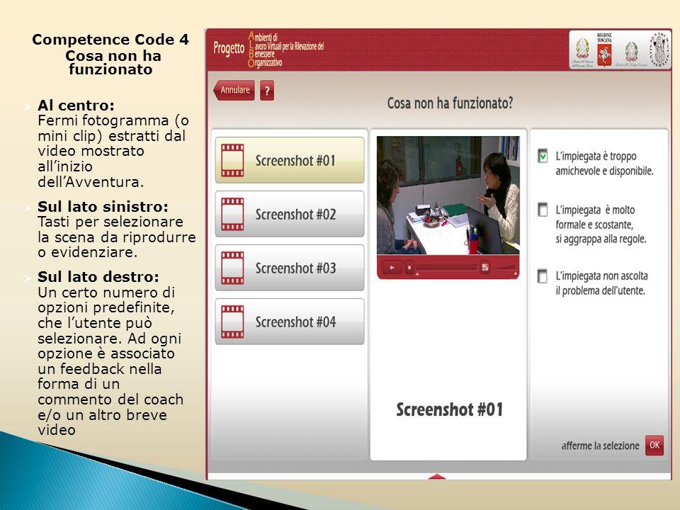 Competence Code 4 Cosa non ha funzionato  Al centro: Fermi fotogramma (o mini clip) estratti dal video mostrato all'inizio dell'Avventura.
