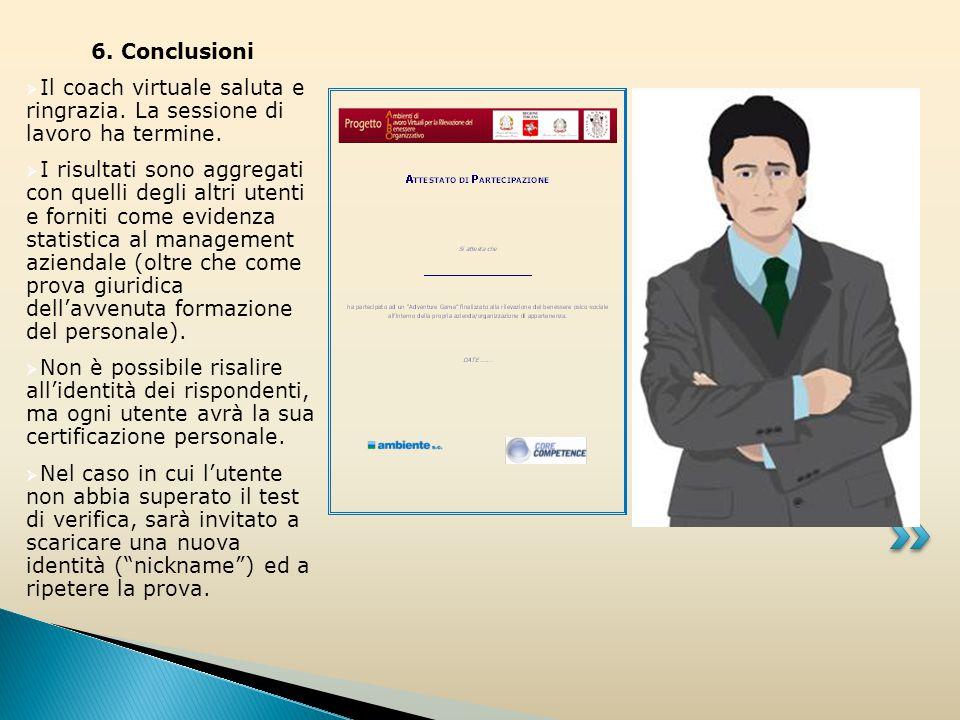 6. Conclusioni  Il coach virtuale saluta e ringrazia.
