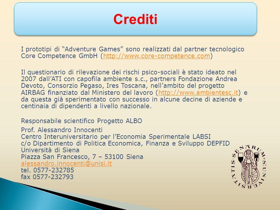 I prototipi di Adventure Games sono realizzati dal partner tecnologico Core Competence GmbH (http://www.core-competence.com)http://www.core-competence.com Il questionario di rilevazione dei rischi psico-sociali è stato ideato nel 2007 dall'ATI con capofila ambiente s.c., partners Fondazione Andrea Devoto, Consorzio Pegaso, Ires Toscana, nell'ambito del progetto AIRBAG finanziato dal Ministero del lavoro (http://www.ambientesc.it) e da questa già sperimentato con successo in alcune decine di aziende e centinaia di dipendenti a livello nazionale.http://www.ambientesc.it Responsabile scientifico Progetto ALBO Prof.