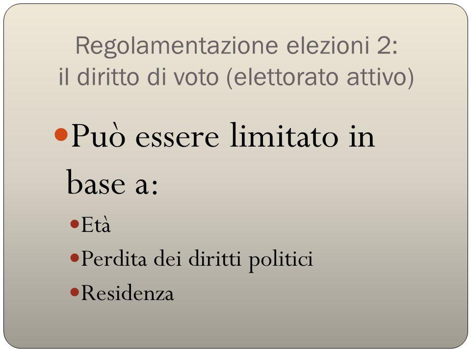 Regolamentazione elezioni 3: il diritto a candidarsi (elettorato passivo) Può essere limitato da: Regole interne al partito (primarie) Età (25 anni Camera; 40 anni Senato) Ruoli ricoperti (giudici, giornalisti) Altri requisiti (firme, soldi, residenza) Incompatibilità politiche