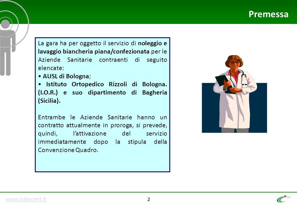 www.intercent.it 2 La gara ha per oggetto il servizio di noleggio e lavaggio biancheria piana/confezionata per le Aziende Sanitarie contraenti di segu