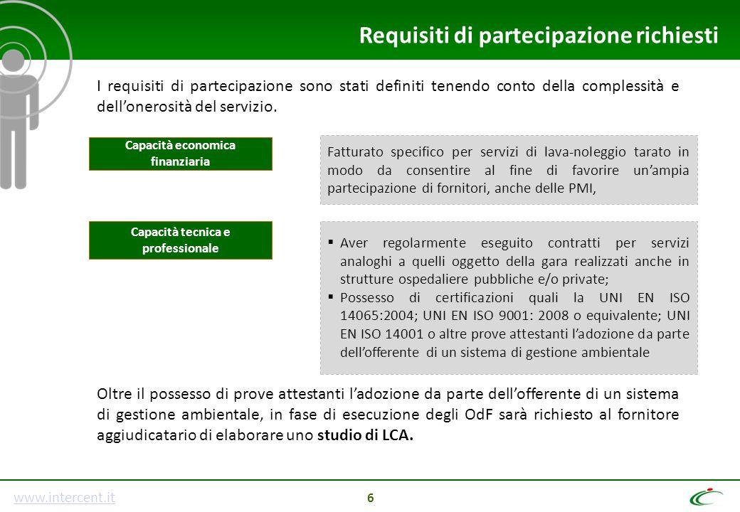 www.intercent.it 6 Requisiti di partecipazione richiesti I requisiti di partecipazione sono stati definiti tenendo conto della complessità e dell'oner