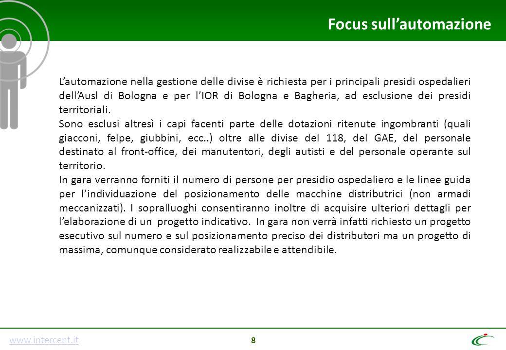 www.intercent.it 8 L'automazione nella gestione delle divise è richiesta per i principali presidi ospedalieri dell'Ausl di Bologna e per l'IOR di Bolo