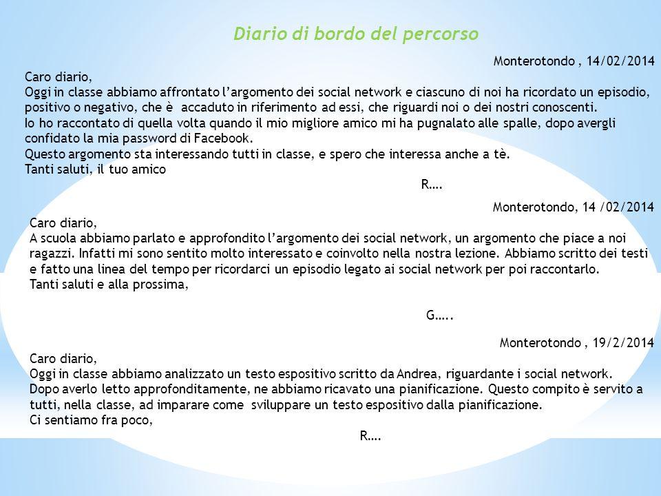 Diario di bordo del percorso Monterotondo, 14/02/2014 Caro diario, Oggi in classe abbiamo affrontato l'argomento dei social network e ciascuno di noi