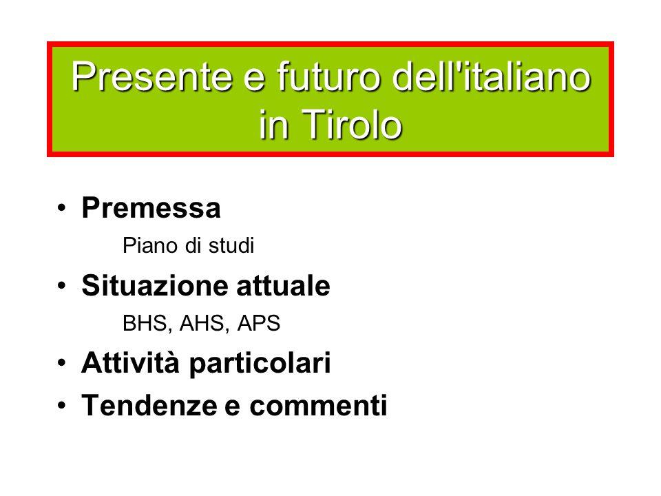 Presente e futuro dell'italiano in Tirolo Premessa Piano di studi Situazione attuale BHS, AHS, APS Attività particolari Tendenze e commenti