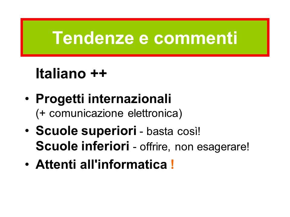 Tendenze e commenti Italiano ++ Progetti internazionali (+ comunicazione elettronica) Scuole superiori - basta così! Scuole inferiori - offrire, non e