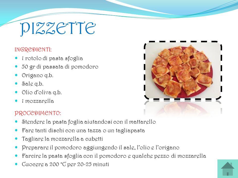 PIZZETTE INGREDIENTI: 1 rotolo di pasta sfoglia 50 gr di passata di pomodoro Origano q.b. Sale q.b. Olio d'oliva q.b. 1 mozzarella PROCEDIMENTO: Stend