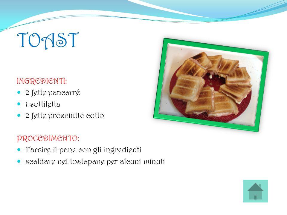 TOAST INGREDIENTI: 2 fette pancarré 1 sottiletta 2 fette prosciutto cotto PROCEDIMENTO: Farcire il pane con gli ingredienti scaldare nel tostapane per