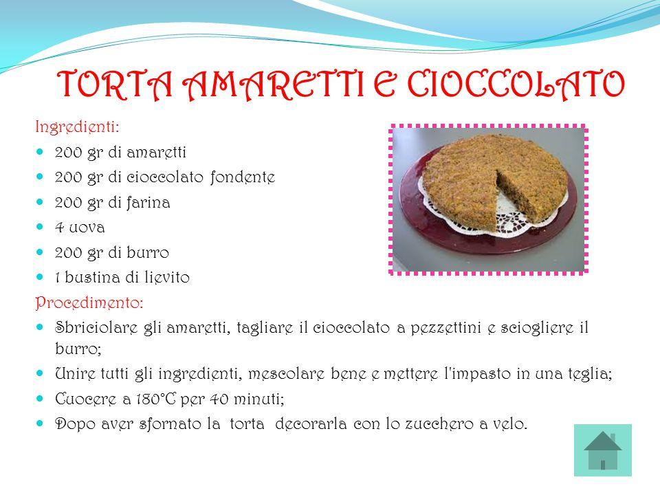 TORTA AMARETTI E CIOCCOLATO Ingredienti: 200 gr di amaretti 200 gr di cioccolato fondente 200 gr di farina 4 uova 200 gr di burro 1 bustina di lievito