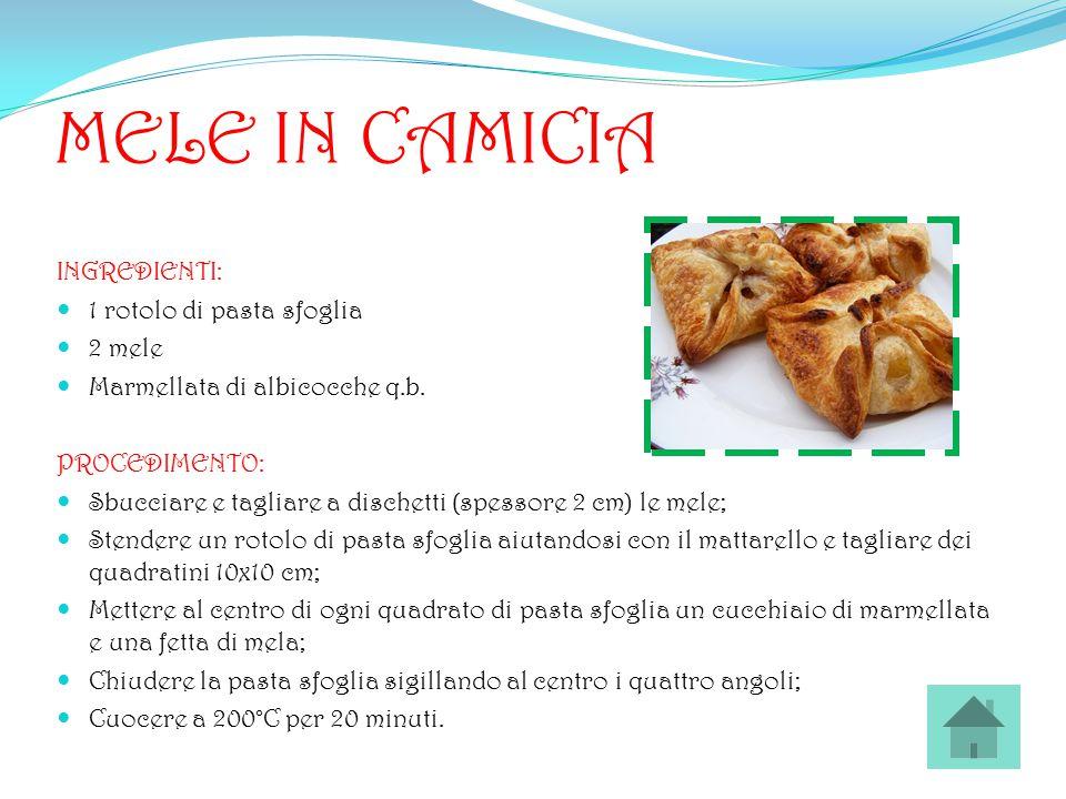 MELE IN CAMICIA INGREDIENTI: 1 rotolo di pasta sfoglia 2 mele Marmellata di albicocche q.b. PROCEDIMENTO: Sbucciare e tagliare a dischetti (spessore 2