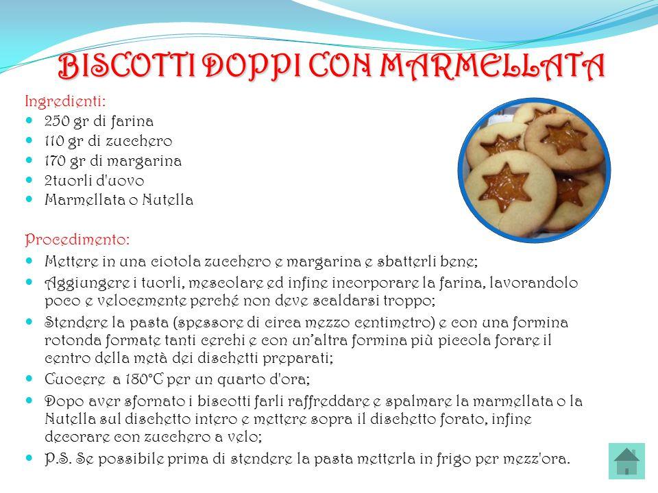 BISCOTTI DOPPI CON MARMELLATA Ingredienti: 250 gr di farina 110 gr di zucchero 170 gr di margarina 2tuorli d'uovo Marmellata o Nutella Procedimento: M