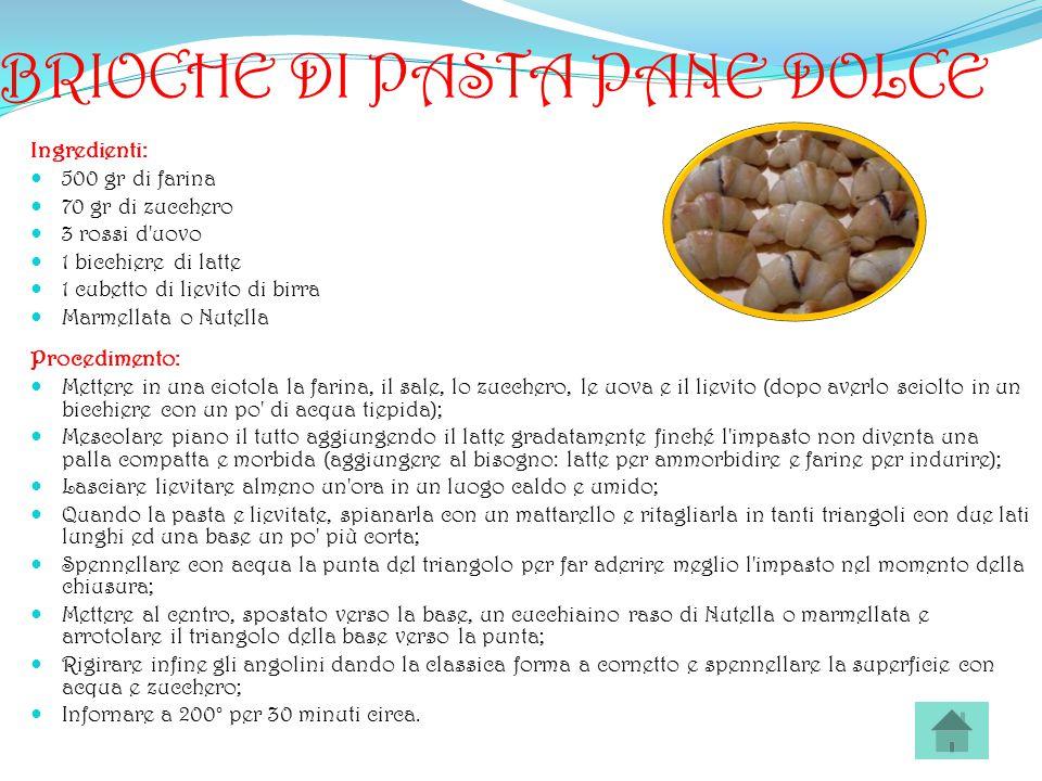BRIOCHE DI PASTA PANE DOLCE Ingredienti: 500 gr di farina 70 gr di zucchero 3 rossi d'uovo 1 bicchiere di latte 1 cubetto di lievito di birra Marmella