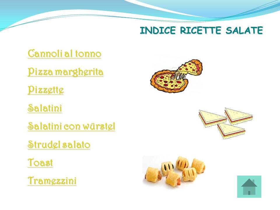 Cannoli al tonno Cannoli al tonno Pizza margherita Pizza margherita Pizzette Salatini con würstel Salatini con würstel Strudel salato Strudel salato T