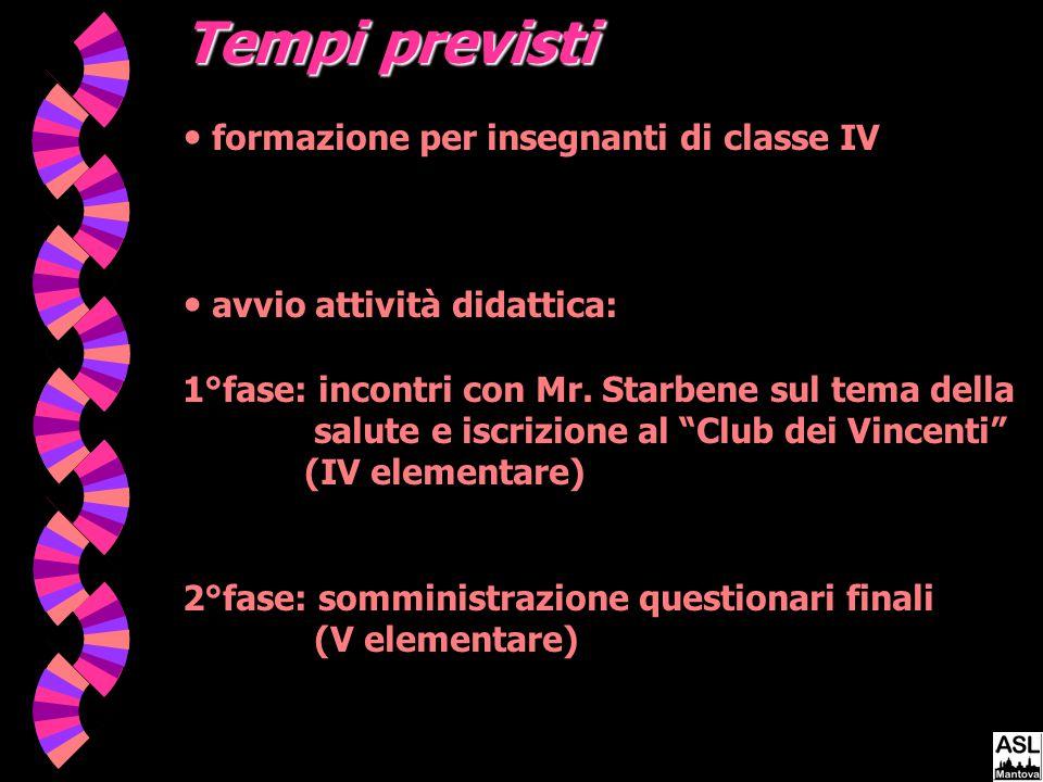 Tempi previsti formazione per insegnanti di classe IV avvio attività didattica: 1°fase: incontri con Mr.