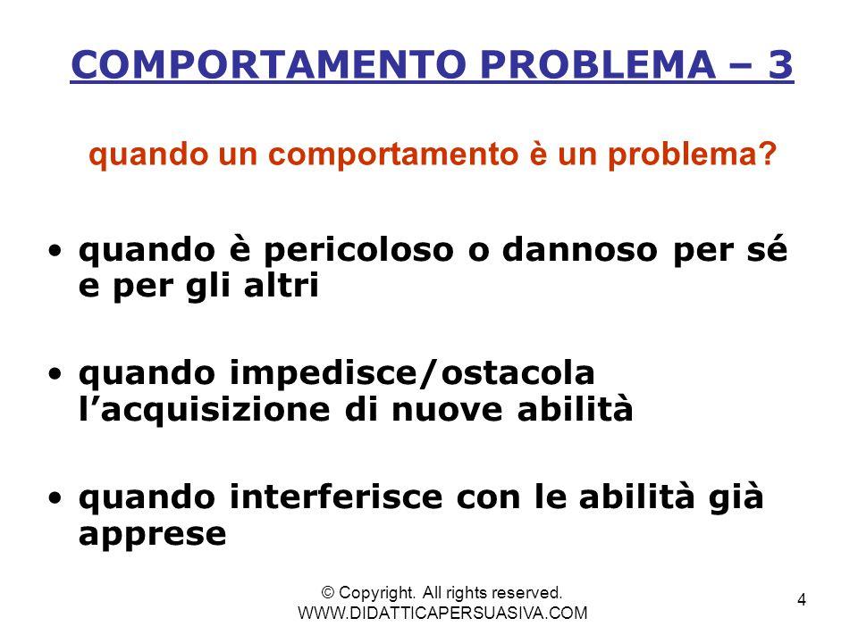 4 COMPORTAMENTO PROBLEMA – 3 quando un comportamento è un problema.