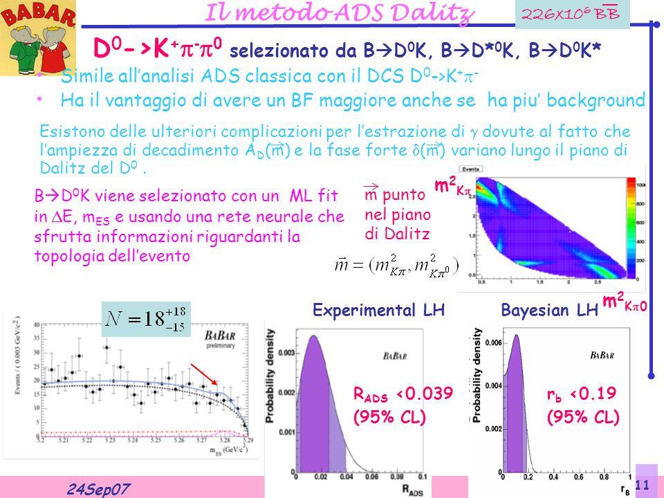 Valentina Santoro 24Sep07 11 Il metodo ADS Dalitz D 0 ->K +  -  0  selezionato da  B  D 0 K, B  D* 0 K, B  D 0 K* Simile all'analisi ADS classica con il DCS D 0 ->K +  - Ha il vantaggio di avere un BF maggiore anche se ha piu' background m2K m2K m2K0 m2K0 m punto nel piano di Dalitz 226x10 6 BB Esistono delle ulteriori complicazioni per l'estrazione di  dovute al fatto che l'ampiezza di decadimento A D (m) e la fase forte  (m) variano lungo il piano di Dalitz del D 0.
