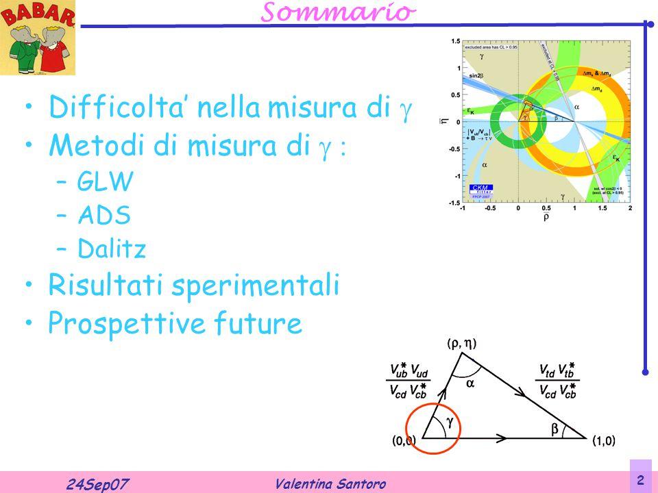 Valentina Santoro 24Sep07 2 Sommario Difficolta' nella misura di  Metodi di misura di  –GLW –ADS –Dalitz Risultati sperimentali Prospettive future