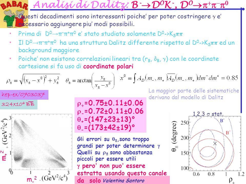 Valentina Santoro 24Sep07 26 Analisi di Dalitz: B -  D 0 K -, D 0       Questi decadimenti sono interessanti poiche' per poter costringere  e' necessario aggiungere piu' modi possibili.