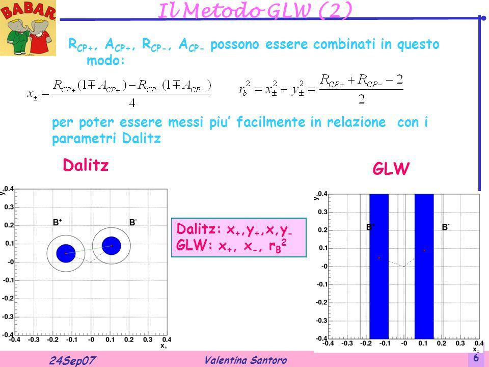 Valentina Santoro 24Sep07 6 Il Metodo GLW (2) R CP+, A CP+, R CP-, A CP- possono essere combinati in questo modo: per poter essere messi piu' facilmente in relazione con i parametri Dalitz Dalitz: x +,y +,x,y - GLW: x +, x -, r B 2 Dalitz GLW