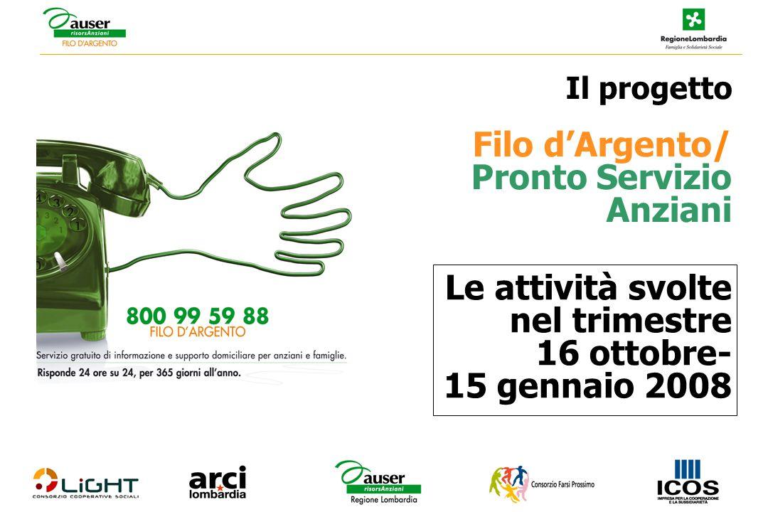 Le attività svolte nel trimestre 16 ottobre- 15 gennaio 2008 Il progetto Filo d'Argento/ Pronto Servizio Anziani
