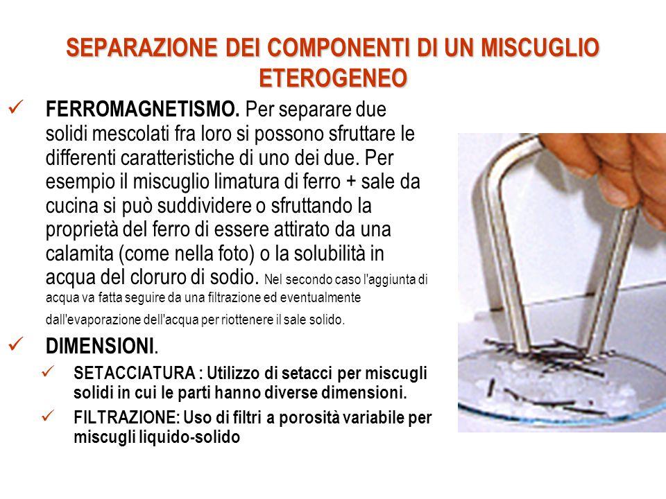 SEPARAZIONE DEI COMPONENTI DI UN MISCUGLIO ETEROGENEO FERROMAGNETISMO.