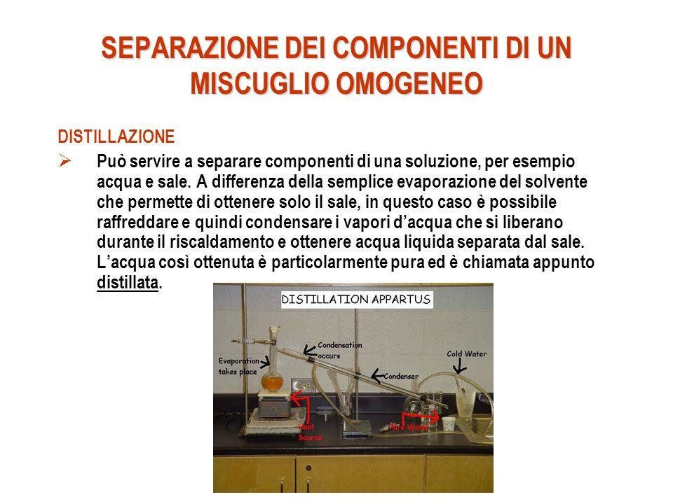 SEPARAZIONE DEI COMPONENTI DI UN MISCUGLIO OMOGENEO DISTILLAZIONE  Può servire a separare componenti di una soluzione, per esempio acqua e sale. A di