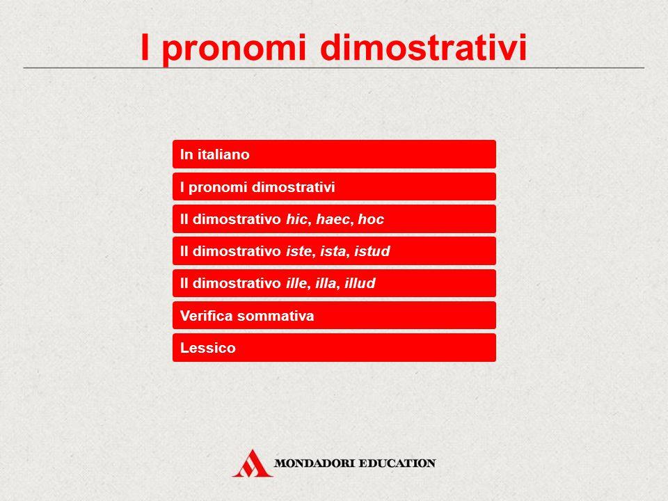 In italiano I pronomi dimostrativi Il dimostrativo iste, ista, istud Il dimostrativo hic, haec, hoc Il dimostrativo ille, illa, illud Verifica sommativa Lessico