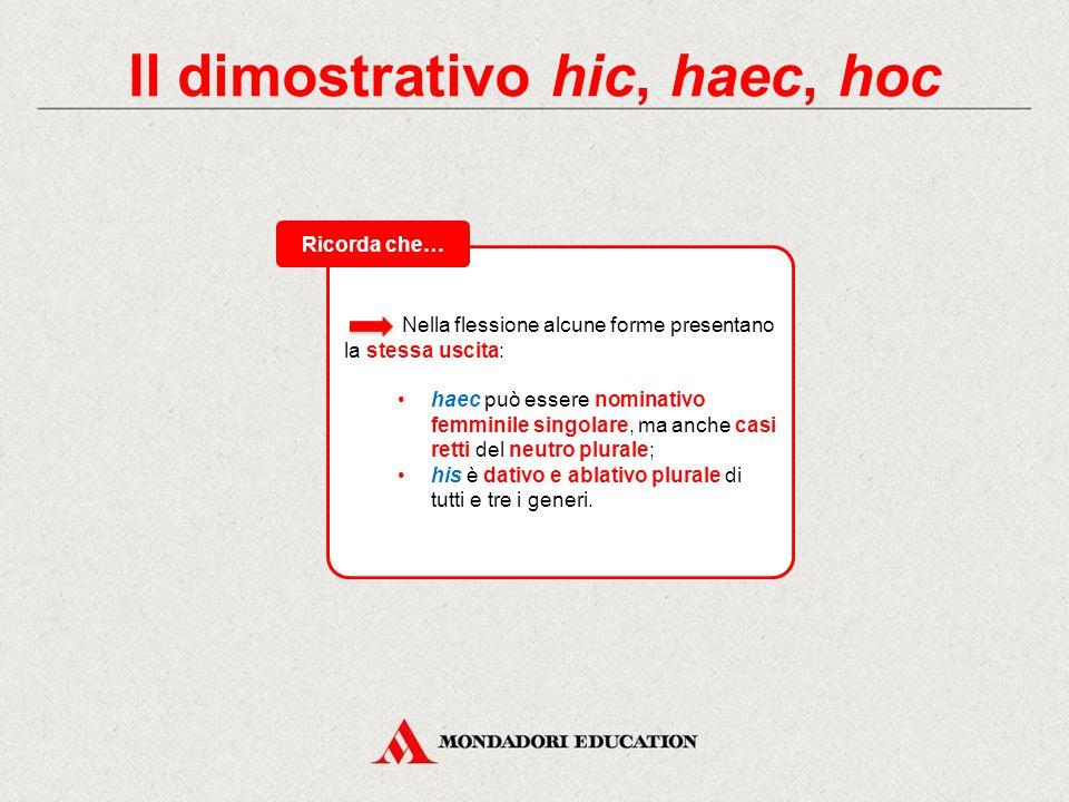 Il dimostrativo hic, haec, hoc Nella flessione alcune forme presentano la stessa uscita: haec può essere nominativo femminile singolare, ma anche casi retti del neutro plurale; his è dativo e ablativo plurale di tutti e tre i generi.