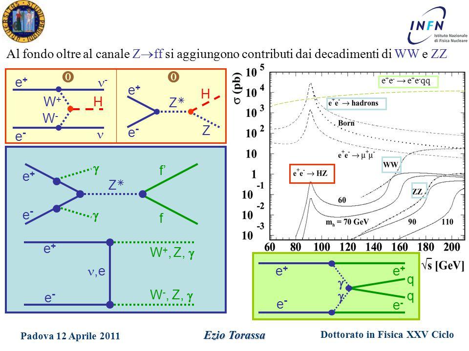 Dottorato in Fisica XXV Ciclo Padova 12 Aprile 2011 Ezio Torassa e+e+ f' e-e- f ZZ   W +, Z,  e+e+,e e-e- W -, Z,  e+e+ H e-e- Z ZZ e+e+ - e-e- W+W+ W-W- H  Al fondo oltre al canale Z  ff si aggiungono contributi dai decadimenti di WW e ZZ e+e+ e-e- e+e+  e-e-  q q e + e - → e + e - qq