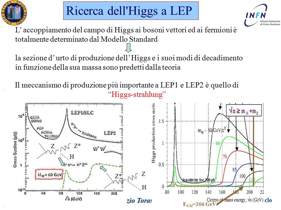 Dottorato in Fisica XXV Ciclo Padova 12 Aprile 2011 Ezio Torassa Ricerca dell Higgs a LEP L' accoppiamento del campo di Higgs ai bosoni vettori ed ai fermioni è totalmente determinato dal Modello Standard la sezione d' urto di produzione dell' Higgs e i suoi modi di decadimento in funzione della sua massa sono predetti dalla teoria Z Z* H H Z Il meccanismo di produzione più importante a LEP1 e LEP2 è quello di Higgs-strahlung E CM =206 GeV