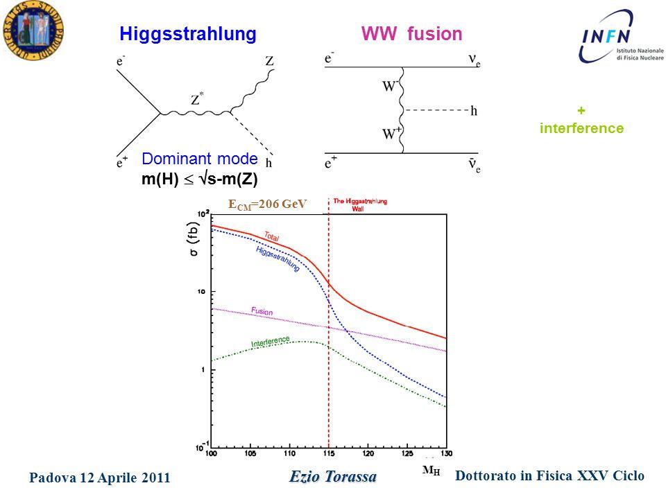 Dottorato in Fisica XXV Ciclo Padova 12 Aprile 2011 Ezio Torassa HiggsstrahlungWW fusion Dominant mode m(H)   s-m(Z) + interference MHMH E CM =206 GeV