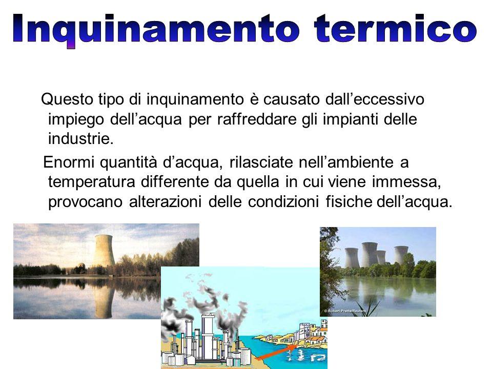 Questo tipo di inquinamento è causato dall'eccessivo impiego dell'acqua per raffreddare gli impianti delle industrie.