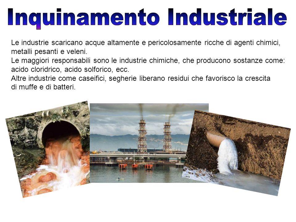 Le industrie scaricano acque altamente e pericolosamente ricche di agenti chimici, metalli pesanti e veleni.