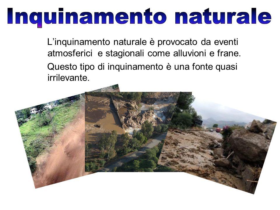 L'inquinamento naturale è provocato da eventi atmosferici e stagionali come alluvioni e frane.