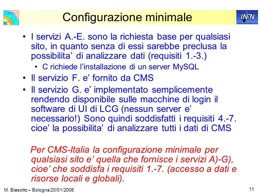 CMS 11 M. Biasotto – Bologna 20/01/2005 Configurazione minimale I servizi A.-E.