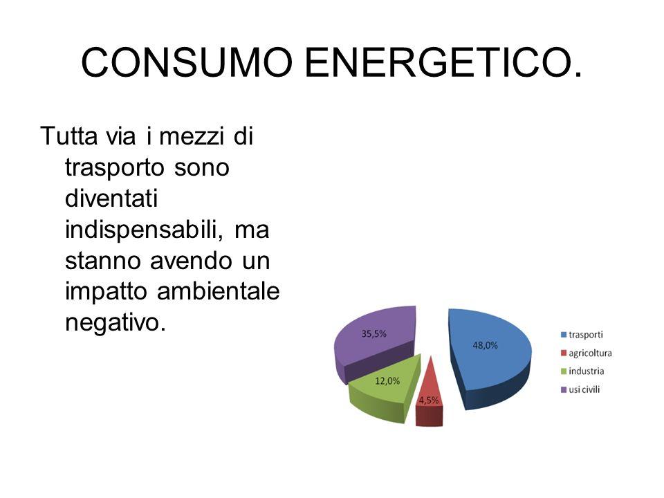CONSUMO ENERGETICO. Tutta via i mezzi di trasporto sono diventati indispensabili, ma stanno avendo un impatto ambientale negativo.