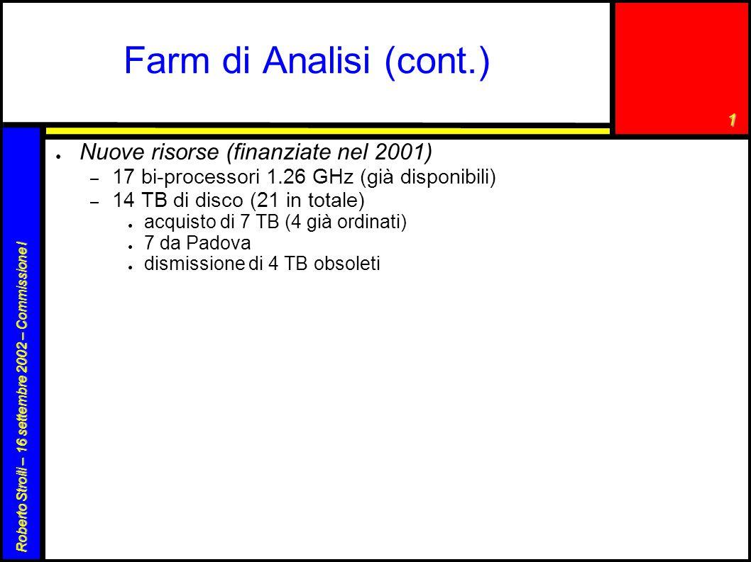 1 Roberto Stroili – 16 settembre 2002 – Commissione I Farm di Analisi (cont.) ● Nuove risorse (finanziate nel 2001) – 17 bi-processori 1.26 GHz (già disponibili) – 14 TB di disco (21 in totale) ● acquisto di 7 TB (4 già ordinati) ● 7 da Padova ● dismissione di 4 TB obsoleti