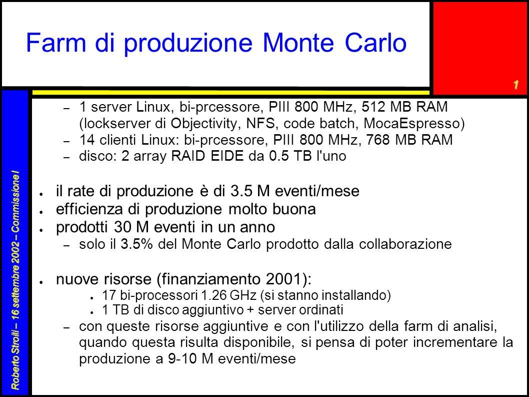 1 Roberto Stroili – 16 settembre 2002 – Commissione I Farm di produzione Monte Carlo – 1 server Linux, bi-prcessore, PIII 800 MHz, 512 MB RAM (lockser