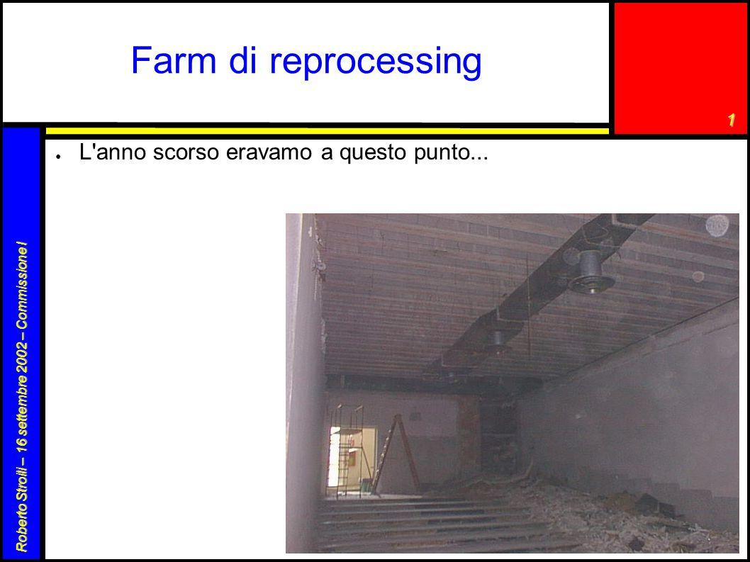 1 Roberto Stroili – 16 settembre 2002 – Commissione I Farm di reprocessing ● L'anno scorso eravamo a questo punto...