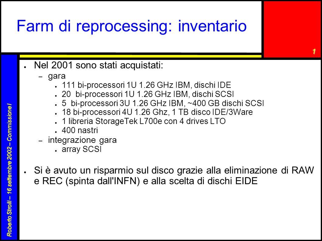 1 Roberto Stroili – 16 settembre 2002 – Commissione I Farm di reprocessing: inventario ● Nel 2001 sono stati acquistati: – gara ● 111 bi-processori 1U 1.26 GHz IBM, dischi IDE ● 20 bi-processori 1U 1.26 GHz IBM, dischi SCSI ● 5 bi-processori 3U 1.26 GHz IBM, ~400 GB dischi SCSI ● 18 bi-processori 4U 1.26 Ghz, 1 TB disco IDE/3Ware ● 1 libreria StorageTek L700e con 4 drives LTO ● 400 nastri – integrazione gara ● array SCSI ● Si è avuto un risparmio sul disco grazie alla eliminazione di RAW e REC (spinta dall INFN) e alla scelta di dischi EIDE