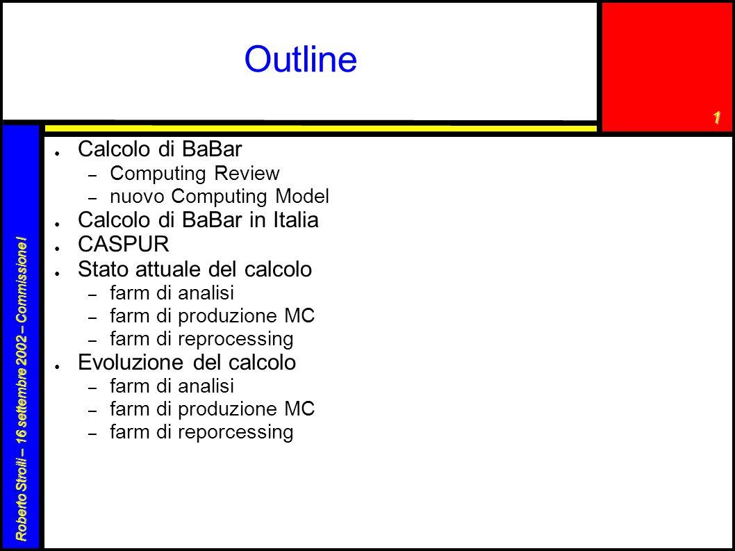 1 Roberto Stroili – 16 settembre 2002 – Commissione I Outline ● Calcolo di BaBar – Computing Review – nuovo Computing Model ● Calcolo di BaBar in Ital