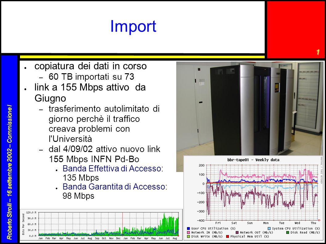 1 Roberto Stroili – 16 settembre 2002 – Commissione I Import ● copiatura dei dati in corso – 60 TB importati su 73 ● link a 155 Mbps attivo da Giugno