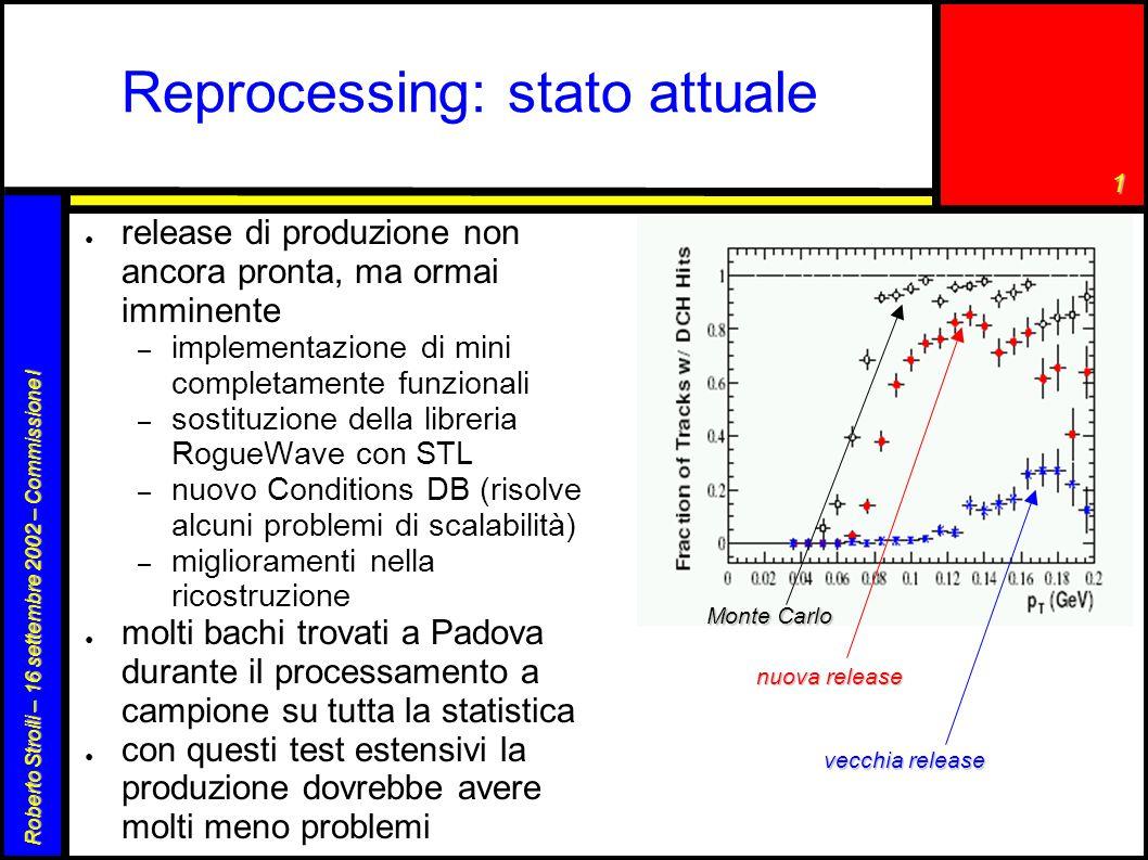 1 Roberto Stroili – 16 settembre 2002 – Commissione I Reprocessing: stato attuale ● release di produzione non ancora pronta, ma ormai imminente – impl