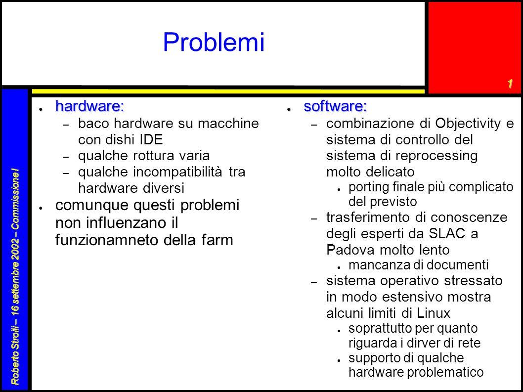 1 Roberto Stroili – 16 settembre 2002 – Commissione I Problemi ● hardware: – baco hardware su macchine con dishi IDE – qualche rottura varia – qualche