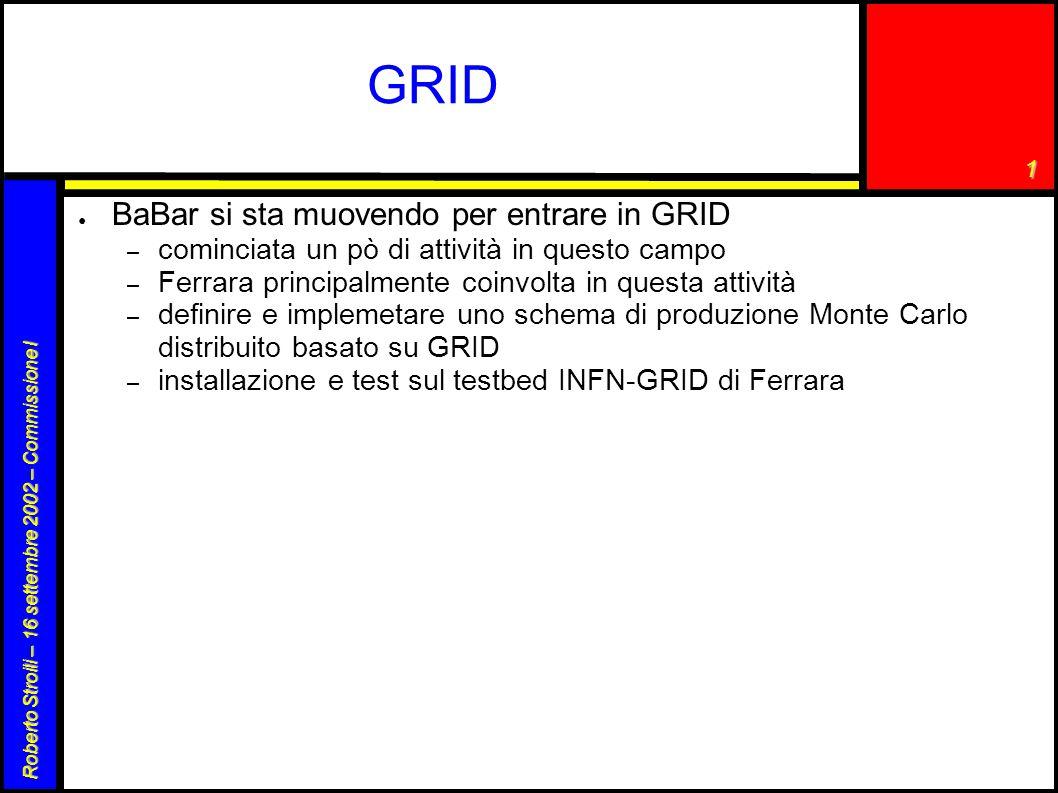 1 Roberto Stroili – 16 settembre 2002 – Commissione I GRID ● BaBar si sta muovendo per entrare in GRID – cominciata un pò di attività in questo campo