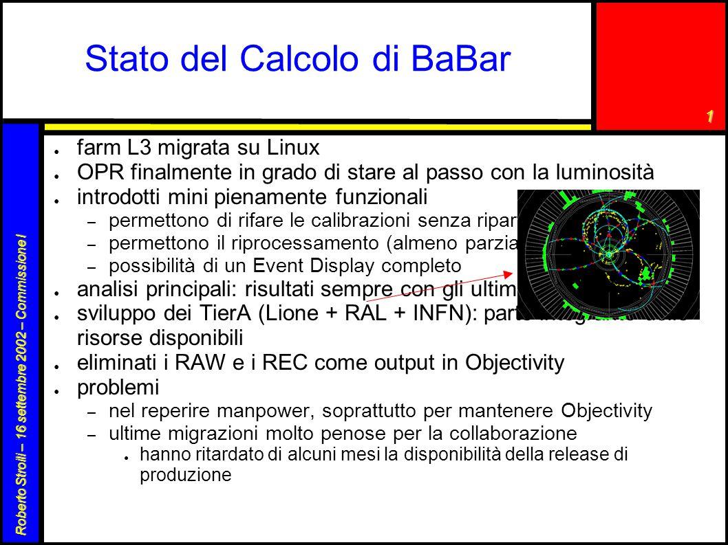 1 Roberto Stroili – 16 settembre 2002 – Commissione I Stato del Calcolo di BaBar ● farm L3 migrata su Linux ● OPR finalmente in grado di stare al pass