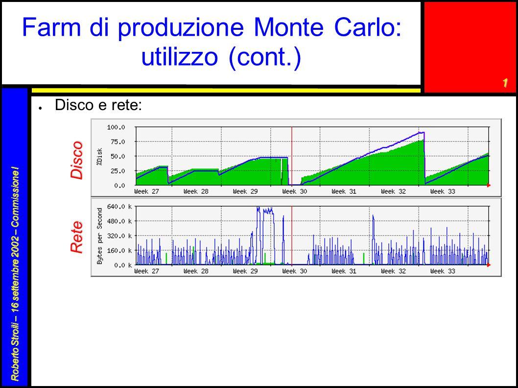 1 Roberto Stroili – 16 settembre 2002 – Commissione I Farm di produzione Monte Carlo: utilizzo (cont.) ● Disco e rete: Disco Rete