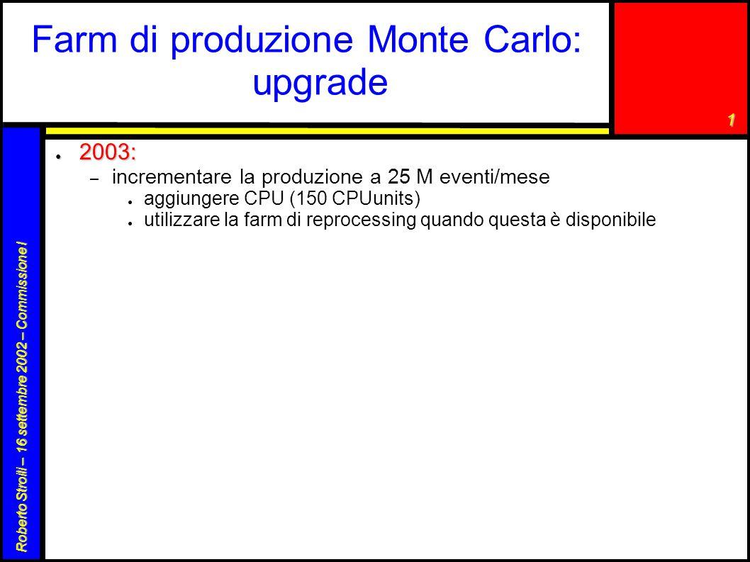 1 Roberto Stroili – 16 settembre 2002 – Commissione I Farm di produzione Monte Carlo: upgrade ● 2003: – incrementare la produzione a 25 M eventi/mese ● aggiungere CPU (150 CPUunits) ● utilizzare la farm di reprocessing quando questa è disponibile