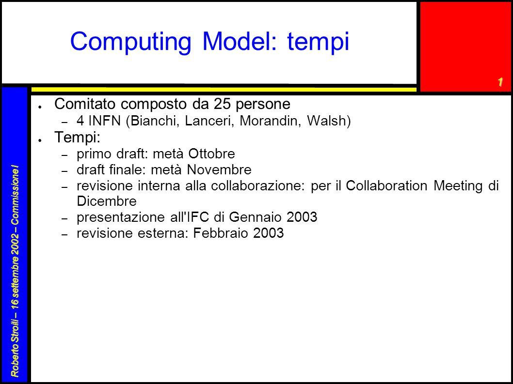 1 Roberto Stroili – 16 settembre 2002 – Commissione I Computing Model: tempi ● Comitato composto da 25 persone – 4 INFN (Bianchi, Lanceri, Morandin, W