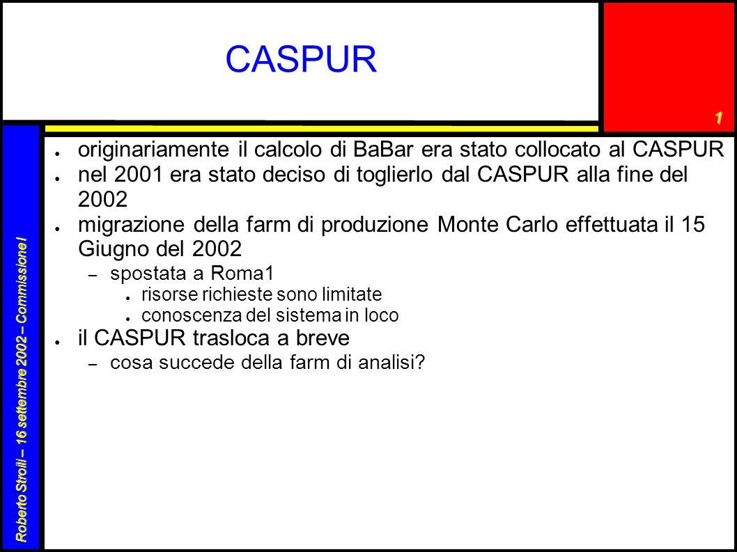 1 Roberto Stroili – 16 settembre 2002 – Commissione I CASPUR ● originariamente il calcolo di BaBar era stato collocato al CASPUR ● nel 2001 era stato